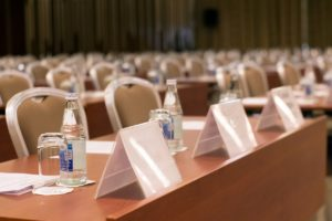 Empty Interior of modern conference hall. Perspective view