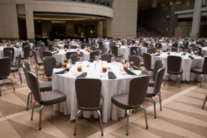 Banquet room with tables ready for guests.